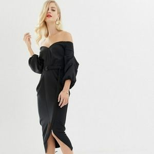 ASOS Off-Shoulder Black Midi Dress